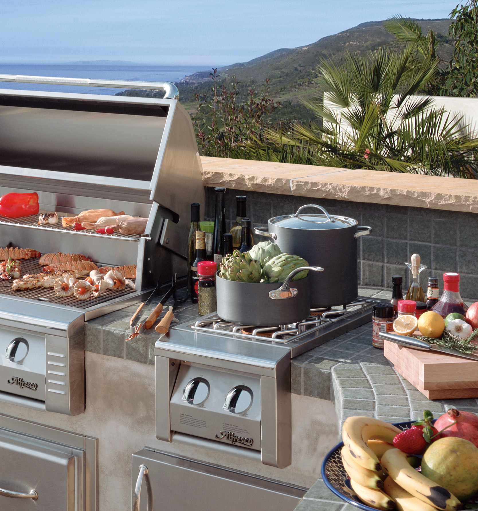 Outdoor Kitchen Wood Countertops: Las Vegas Outdoor Kitchen