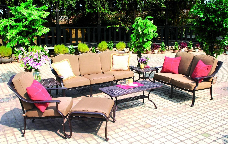 darlee ten star cast aluminum patio lounge set with coffee
